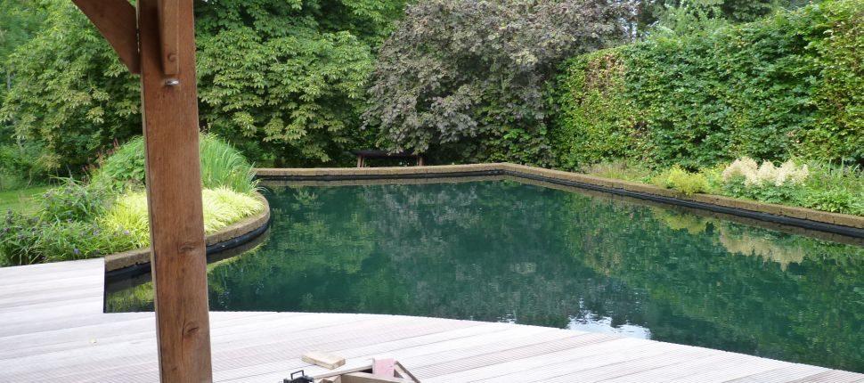 zwemvijver met houten vlonders maastricht
